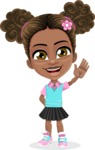 African American School Girl Cartoon Vector Character AKA Anita - Wave