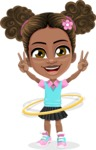 African American School Girl Cartoon Vector Character AKA Anita - Hoop
