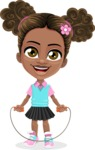 African American School Girl Cartoon Vector Character AKA Anita - Skipping Rope