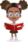 African American School Girl Cartoon Vector Character AKA Anita - Book 1