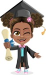 African American School Girl Cartoon Vector Character AKA Anita - Graduate
