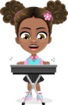 African American School Girl Cartoon Vector Character AKA Anita - Music 1