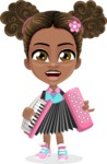 African American School Girl Cartoon Vector Character AKA Anita - Music 2