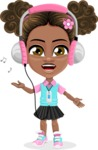 African American School Girl Cartoon Vector Character AKA Anita - Music 3