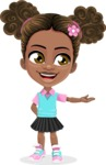 African American School Girl Cartoon Vector Character AKA Anita - Showcase 1