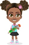 African American School Girl Cartoon Vector Character AKA Anita - Pencil