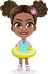 African American School Girl Cartoon Vector Character AKA Anita - Beach 2
