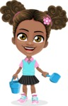 African American School Girl Cartoon Vector Character AKA Anita - Beach 3