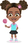 African American School Girl Cartoon Vector Character AKA Anita - Candy