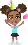 African American School Girl Cartoon Vector Character AKA Anita - Party 1