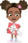 African American School Girl Cartoon Vector Character AKA Anita - Gift