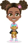 African American School Girl Cartoon Vector Character AKA Anita - Kitty
