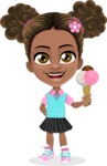 African American School Girl Cartoon Vector Character AKA Anita - Ice Cream