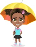 African American School Girl Cartoon Vector Character AKA Anita - Umbrella