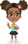 African American School Girl Cartoon Vector Character AKA Anita - Shake