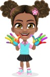 African American School Girl Cartoon Vector Character AKA Anita - Fingerpainting