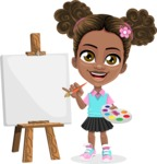 African American School Girl Cartoon Vector Character AKA Anita - Painting
