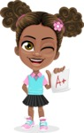 African American School Girl Cartoon Vector Character AKA Anita - Score