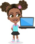 African American School Girl Cartoon Vector Character AKA Anita - Laptop 2