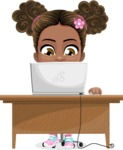 African American School Girl Cartoon Vector Character AKA Anita - Laptop 3