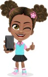 African American School Girl Cartoon Vector Character AKA Anita - Smartphone