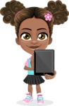 African American School Girl Cartoon Vector Character AKA Anita - Tablet 1