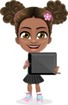 African American School Girl Cartoon Vector Character AKA Anita - Tablet 2