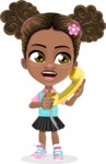 African American School Girl Cartoon Vector Character AKA Anita - Homeline