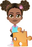 African American School Girl Cartoon Vector Character AKA Anita - Puzzle