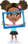 African American School Girl Cartoon Vector Character AKA Anita - Frame
