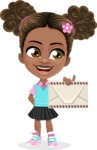 African American School Girl Cartoon Vector Character AKA Anita - Letter