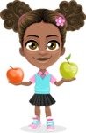 African American School Girl Cartoon Vector Character AKA Anita - Apples