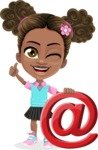 African American School Girl Cartoon Vector Character AKA Anita - Mail