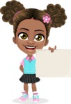 African American School Girl Cartoon Vector Character AKA Anita - Sign 3