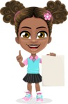 African American School Girl Cartoon Vector Character AKA Anita - Sign 4