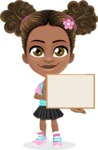 African American School Girl Cartoon Vector Character AKA Anita - Sign 5