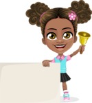 African American School Girl Cartoon Vector Character AKA Anita - Sign 7