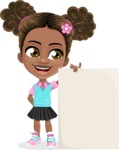 African American School Girl Cartoon Vector Character AKA Anita - Sign 8