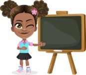 African American School Girl Cartoon Vector Character AKA Anita - Presentation 1
