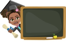 African American School Girl Cartoon Vector Character AKA Anita - Presentation 3