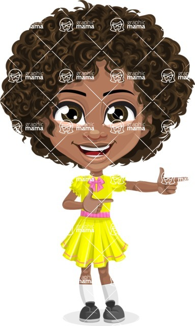 Cute Curly African American Girl Cartoon Vector Character AKA Alana - Point 2