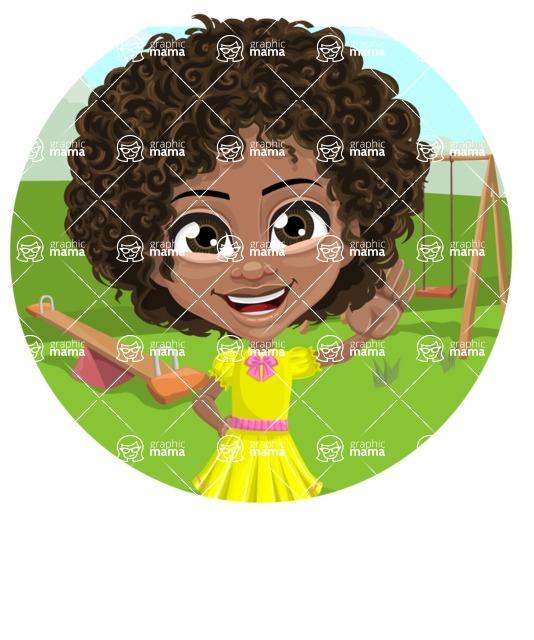 Cute Curly African American Girl Cartoon Vector Character AKA Alana - Shape 1