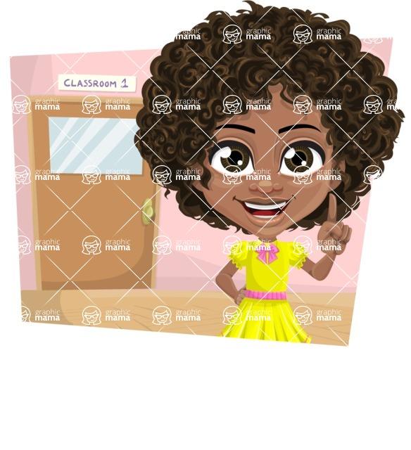 Cute Curly African American Girl Cartoon Vector Character AKA Alana - Shape 3