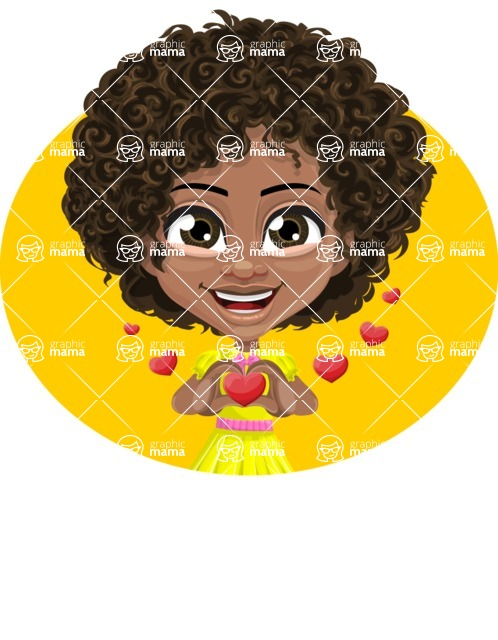 Cute Curly African American Girl Cartoon Vector Character AKA Alana - Shape 4