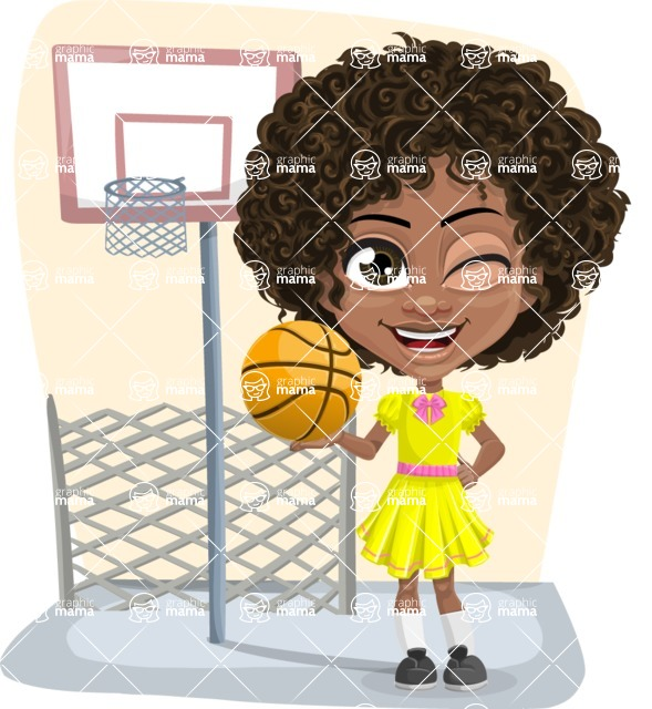 Cute Curly African American Girl Cartoon Vector Character AKA Alana - Shape 5