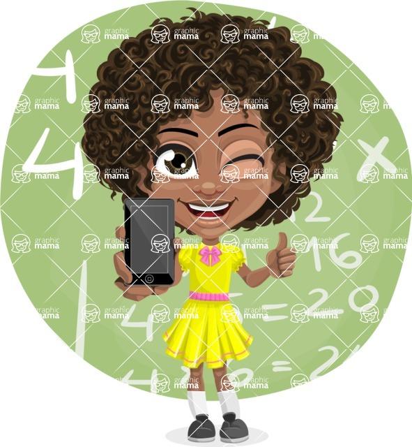 Cute Curly African American Girl Cartoon Vector Character AKA Alana - Shape 7