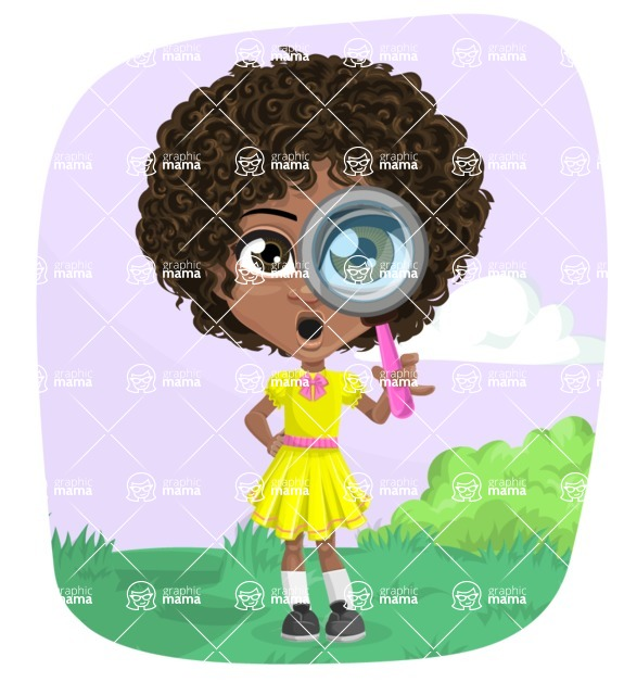 Cute Curly African American Girl Cartoon Vector Character AKA Alana - Shape 8