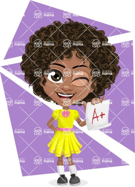 Cute Curly African American Girl Cartoon Vector Character AKA Alana - Shape 9