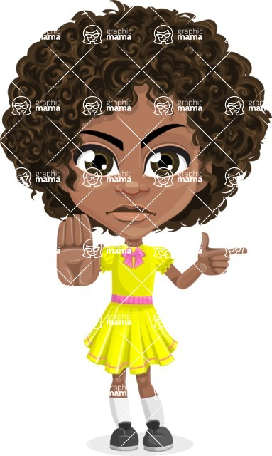Cute Curly African American Girl Cartoon Vector Character AKA Alana - Direct Attention