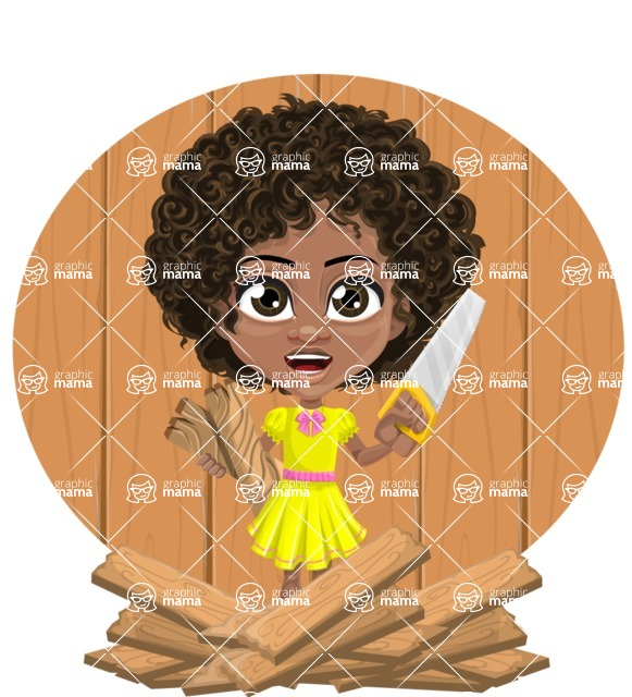 Cute Curly African American Girl Cartoon Vector Character AKA Alana - Shape 10
